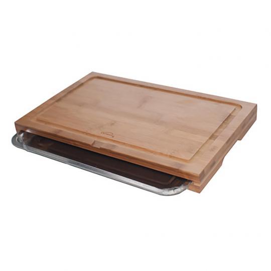 Tabua de Cortar de Bambu com Bandeja em Inox