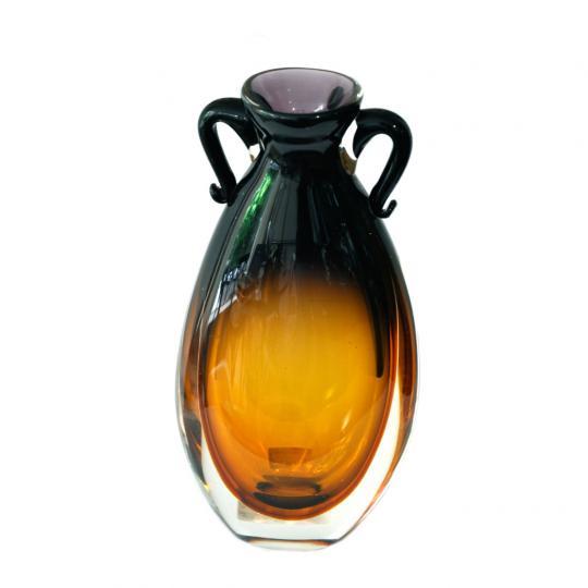 Vaso de Cristal Garrafa Ambar com Lilás