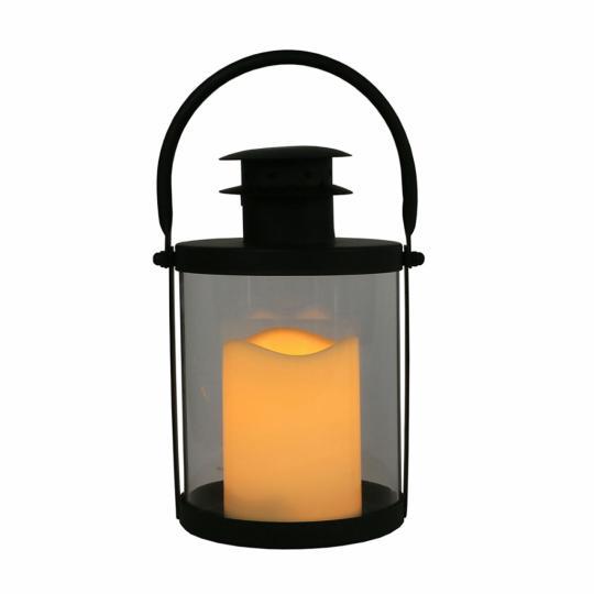 Lanterna em Metal e Vidro com Vela Led P