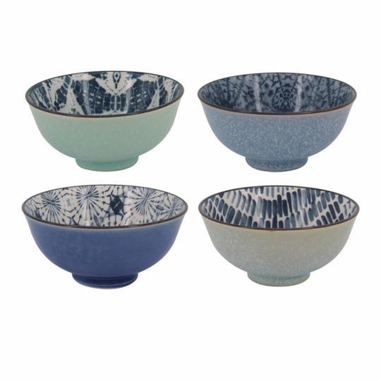 Conjunto com 04 Bowls de Porcelana Azul Verde e Branco