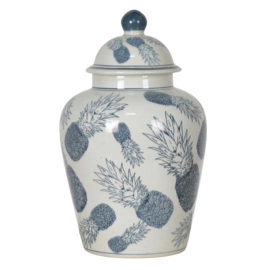 Potiche de Porcelana Azul Claro Abacaxi