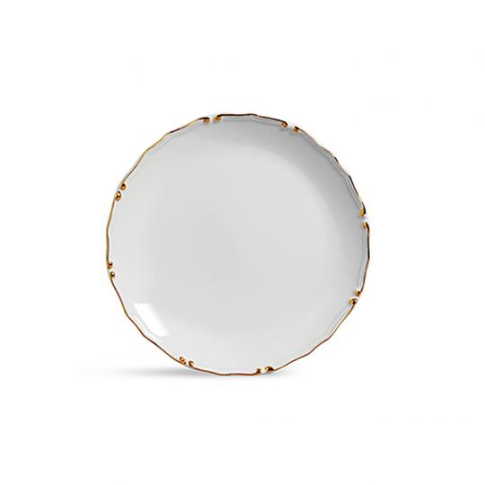 Prato Raso Cristal Branco com Ouro
