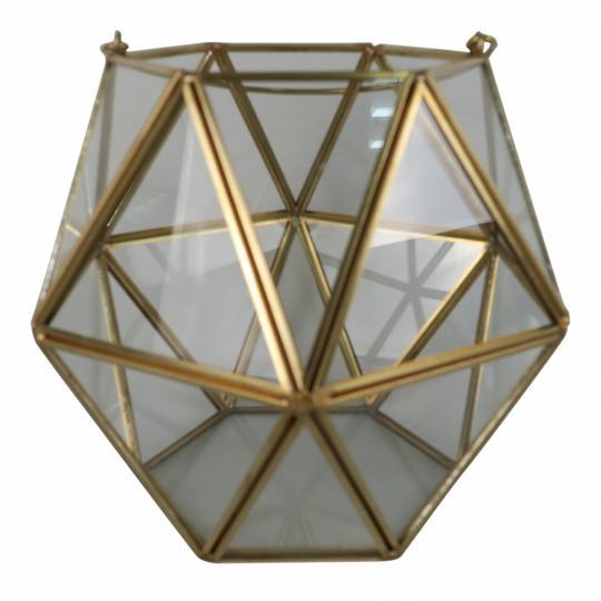 Vaso de Vidro e Metal Dourado