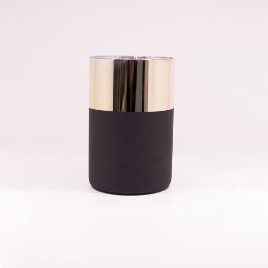 Vaso de Vidro Metalizado Dourado e Preto P