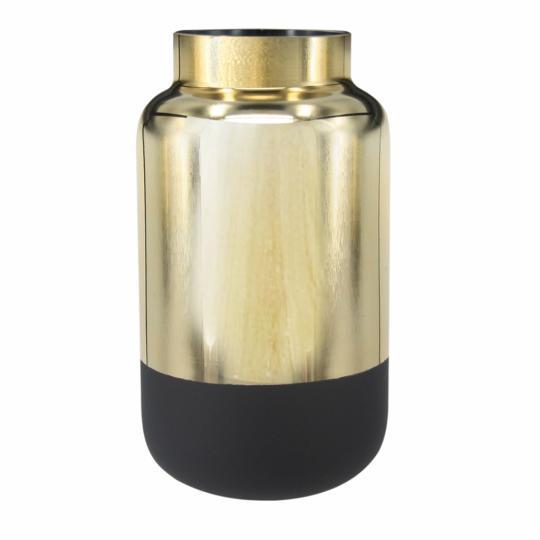 Vaso de Vidro Metalizado Dourado e Preto
