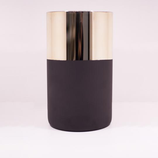 Vaso de Vidro Metalizado Dourado e Preto G