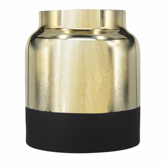 Vaso de Vidro Metalizado Dourado e Preto M