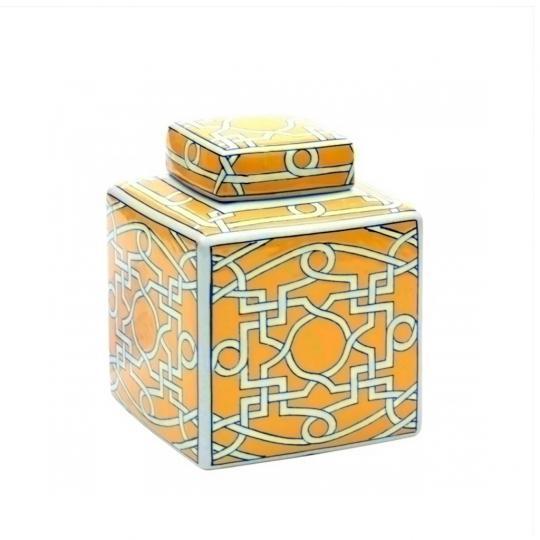 Pote Decorativo de Cerâmica Amarelo e Branco