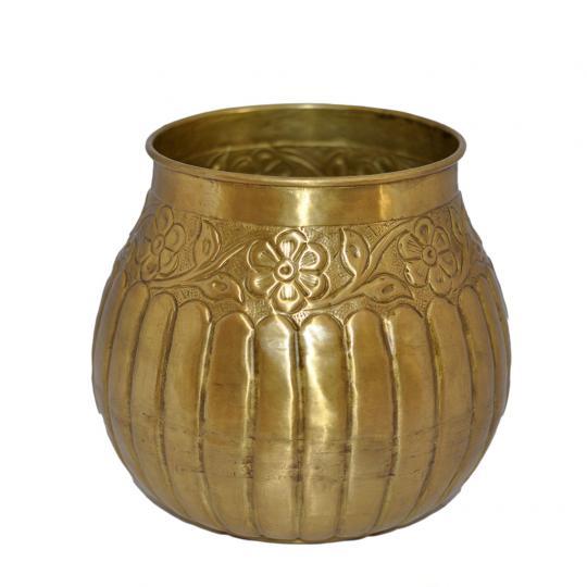 Cachepot de Metal Indiano Dourado