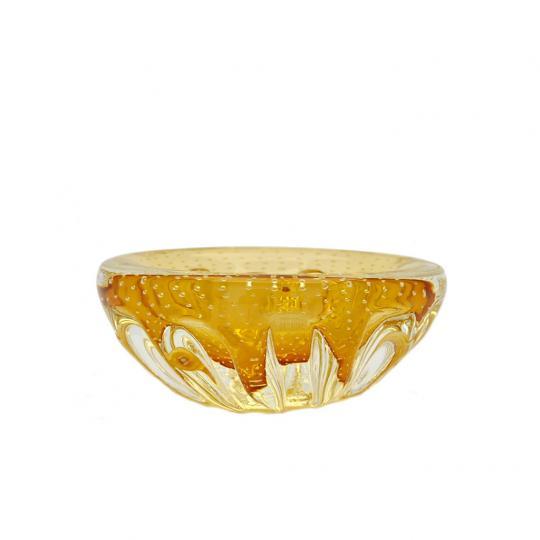 Vaso de Cristal Ambar Tipo Cinzeiro