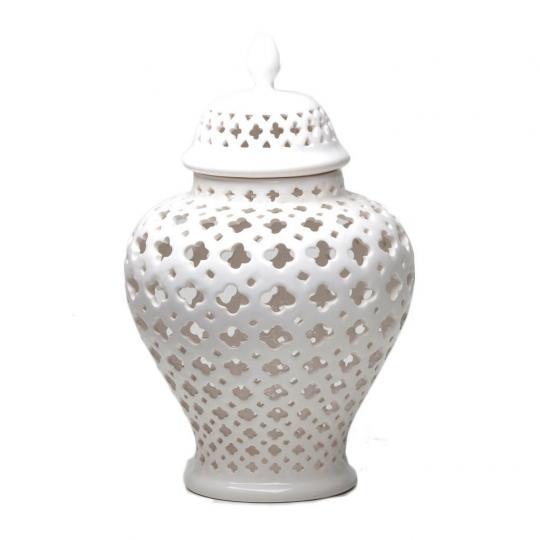 Potiche Rendado de Cerâmica Branco G