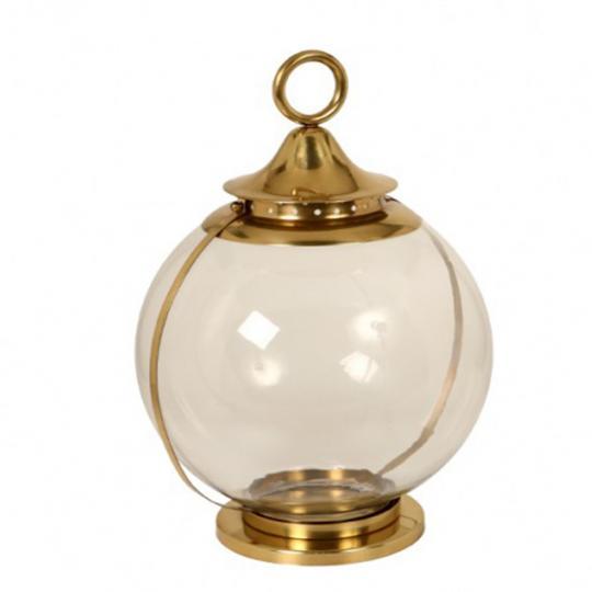 Lanterna de Metal com Vidro Gold Grande