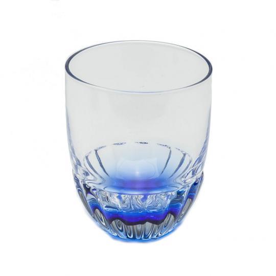 Jogo de 06 Copos de Vidro Transparente com Azul