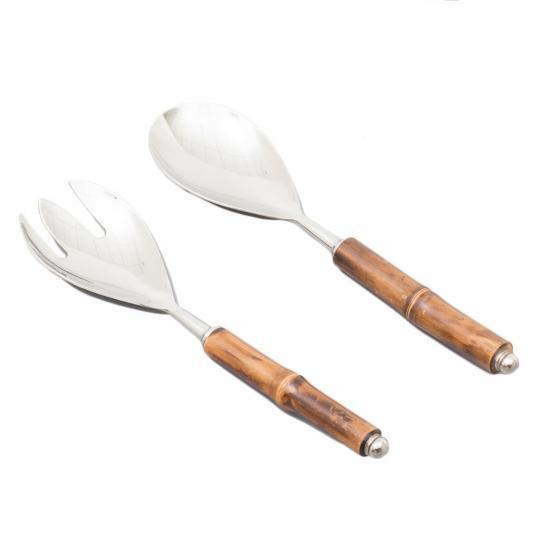 Conjunto de Garfo e Colher para Servir Salada com Cabo de Bambu