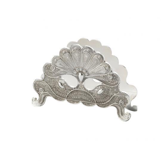 Porta Guardanapo Silver Plated Pavão