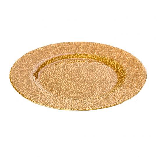 Sousplat de Vidro Glamour Dourado