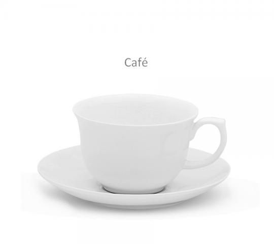 Jogo com 06 Xícaras de Café com Pires Reto Flamingo White