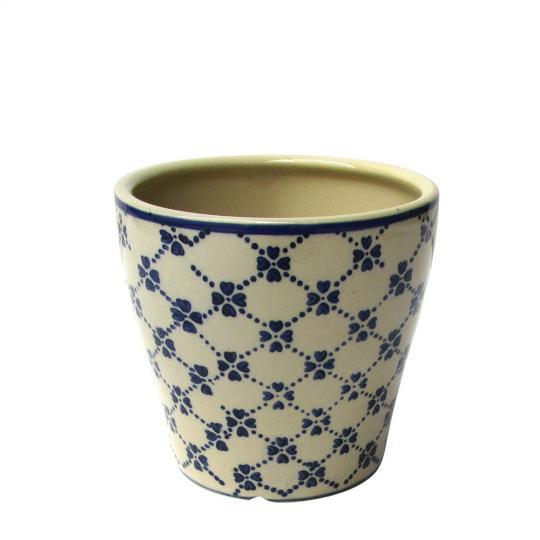 Cachepot de Cerâmica Bege com Detalhes em Azul Trevo P