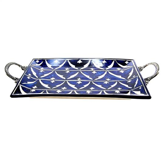 Bandeja de Cerâmica com Alças de Metal Ottoman