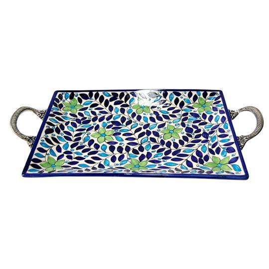 Bandeja de Cerâmica com as Alças em Metal Cafezal