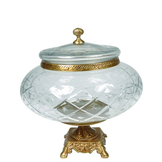 Compoteira de Cristal Lapidado com Metal Bronze