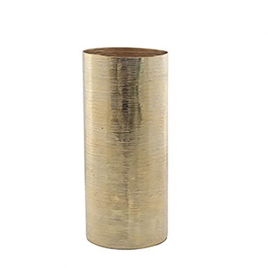 Grande Vaso Cilindro Aluminio Ouro