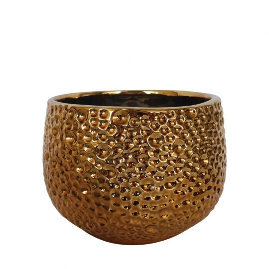 Vaso de Cerâmica Dourado Bubble