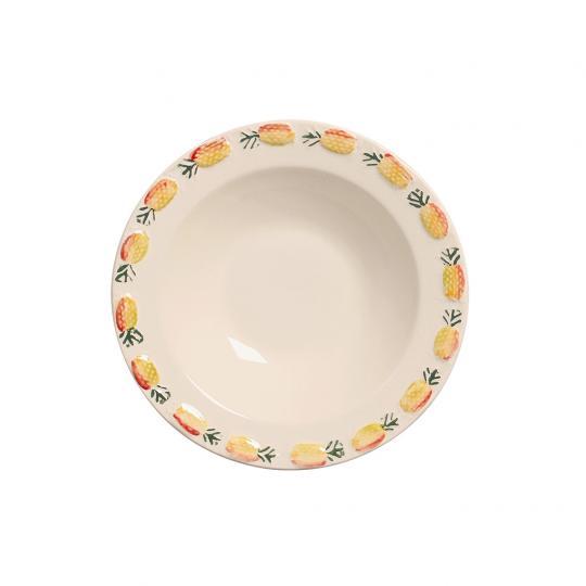 Conjunto com 06 Bowls Abacaxi Amarelo Decorado