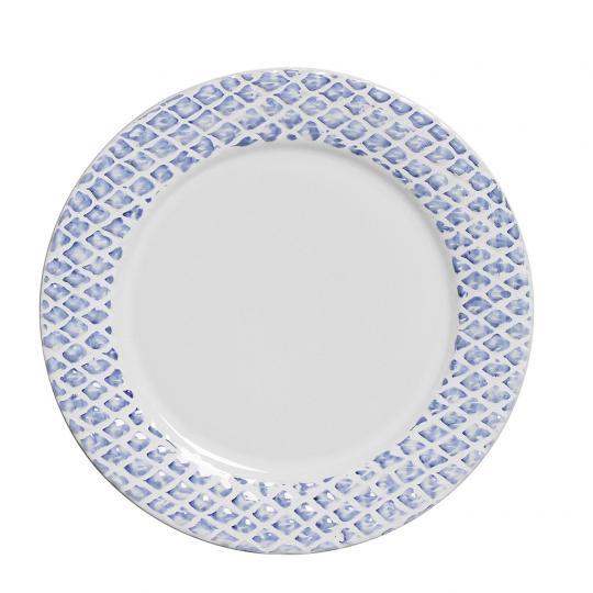 Conjunto com 06 Pratos Rasos Abacaxi Provence Azul