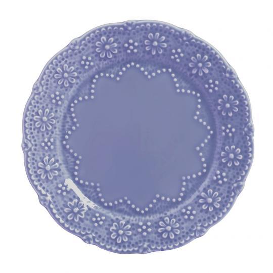 Conjunto com 06 Pratos Rasos Rendada Azul