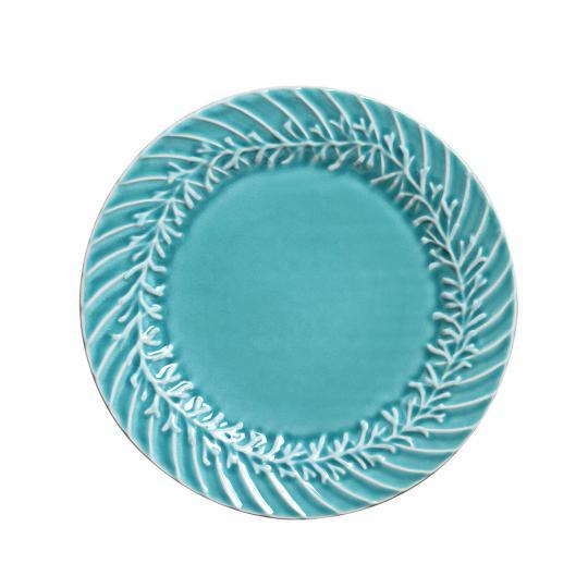 Conjunto com 06 Pratos de Sobremesa Coral Relevo Azul Piscina