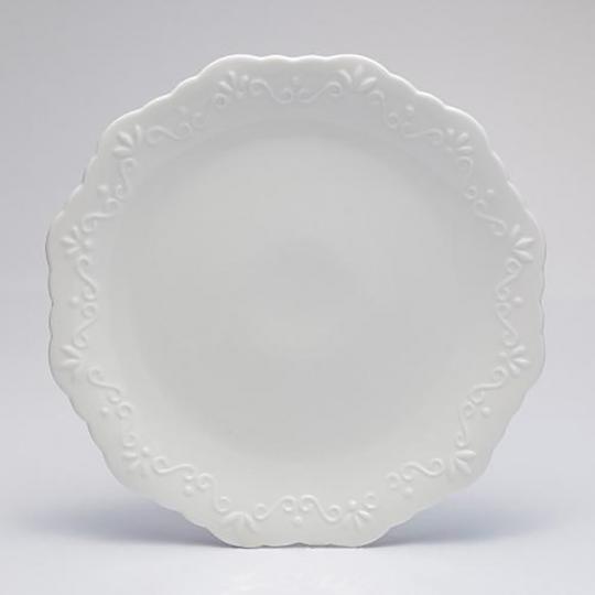 Prato Para Bolo Com  Base De Porcelana Alto Relevo