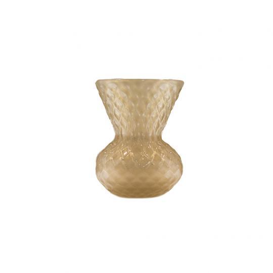 Vaso Cinza com Ouro Pequeno de Cristal de Murano