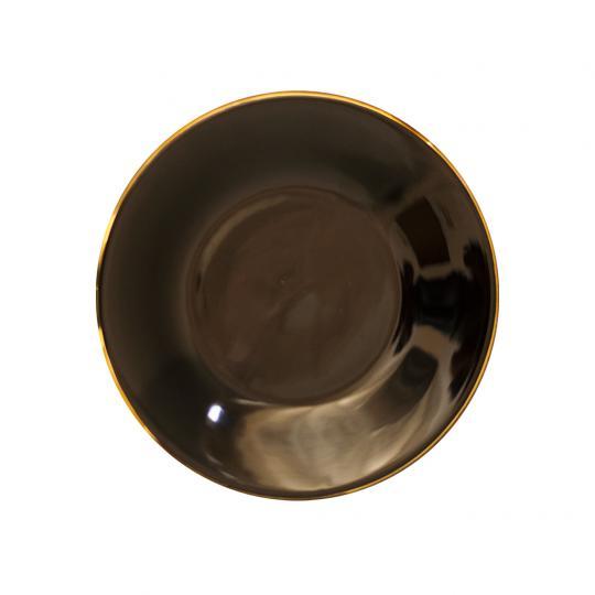 Prato de Sobremesa Preto com Borda Dourado