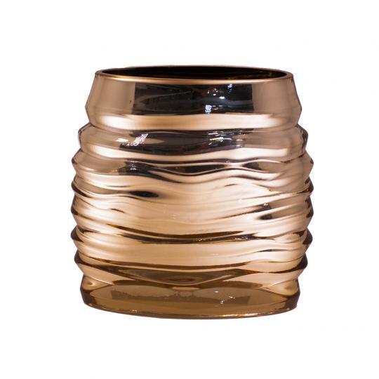 Vaso Decorativo de Vidro na Cor Dourado Largo P