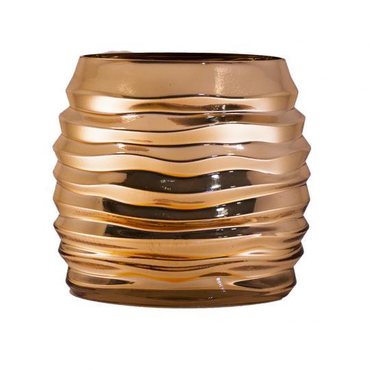 Vaso Decorativo de Vidro na Cor Dourado Largo G