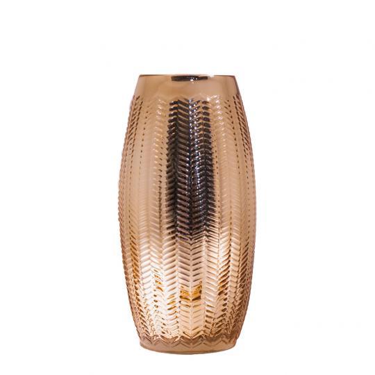 Vaso Decorativo de Vidro na Cor Dourado Comprido P