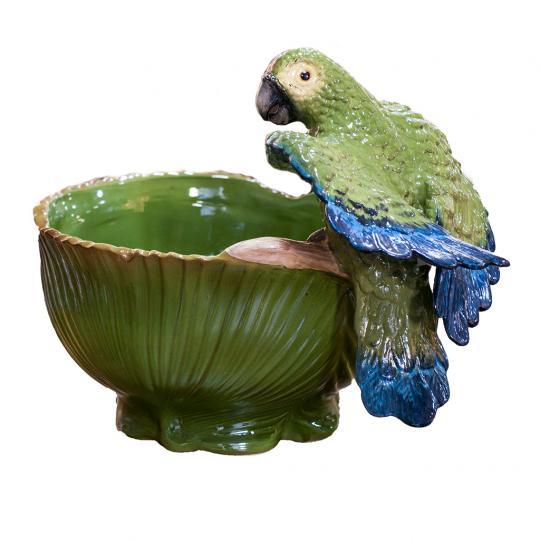 Cachepot Palmeira Grande Verde Outonal com Papagaio