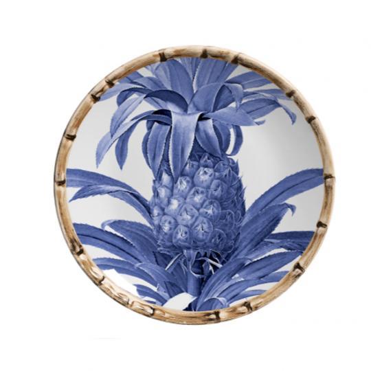 Jogo com 06 Pratos de Sobremesa Abacaxi Azul Royal