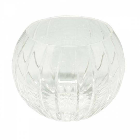 Vaso de Cristal Oval com Alto Relevo de Linhas Retas
