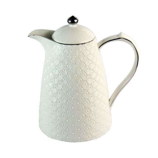 Garrafa Térmica de Porcelana com Filete Prata