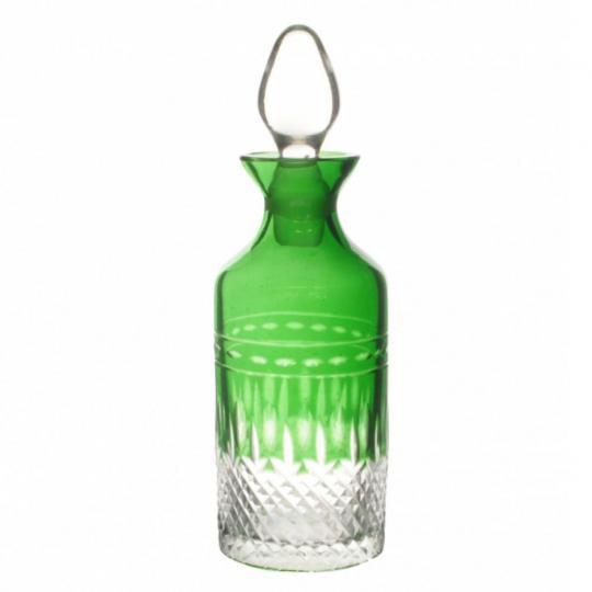 Garrafa de Cristal Pequena Lapidado Verde