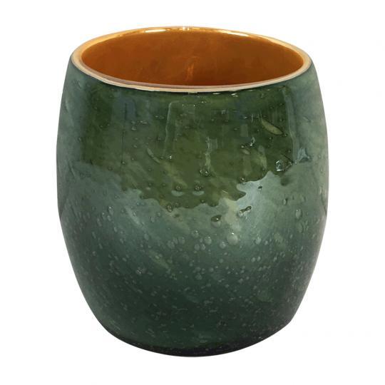 Vaso Tirios II Vidro Cores Laranja e Verde