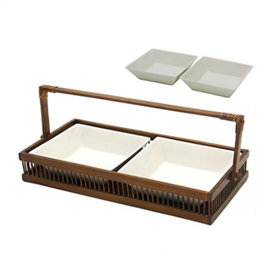 Petisqueira dupla com Base de Bambu com Bowls de Porcelana